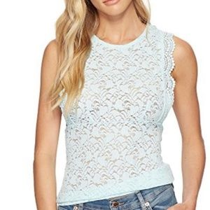 Free People Sure Thang Mint Lace Tank Top NWT